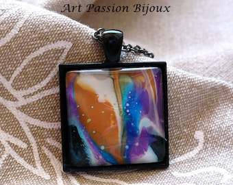 Orange purple blue jewelry, colorful jewelry, psychedelic jewelry, abstract painted glass, funky marble jewelry, galaxy jewelry, 25 off ship