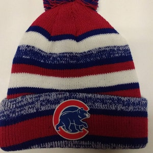 d1bf7801f91 ... closeout chicago cubs heat applied logo on a knit cuffed beanie pom hat  cap. royal