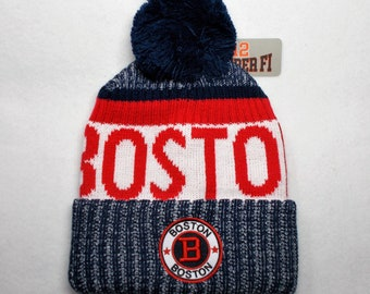f2564e1617a ... italy boston red sox team colors on a knit cuffed beanie pom hat cap.  boston