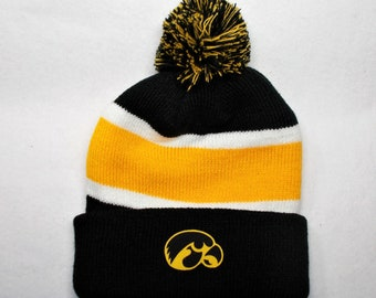 382f9b24 promo code iowa hawkeyes heat applied logo on a knit cuffed beanie pom hat  cap.
