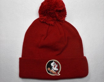 save off 986ae 05490 ... canada florida state seminoles heat applied logo on a knit cuffed  beanie pom hat cap.