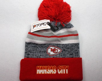 Kansas City! Team Colors on Direct 3D Embroidered Knit Cuffed Pom Beanie hat  cap. Logo Heat Applied above embroidery! Good quality. 1 size! d8d2fc34f40e