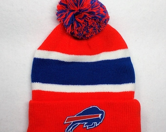660e770d Our Logo is Crafted from Buffalo Bills Officially Licensed Fabric, And Heat  Applied on Red/Royal/White High Quality Pom Beanie Hat Cap
