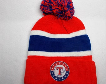release date 28753 1a345 ... where to buy texas rangers heat applied logo on a knit cuffed beanie  pom hat cap