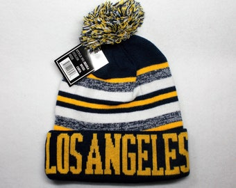 eda3414db On a Knit Cuffed Beanie POM hat cap! Navy Gold Wht! Great quality. Adult  Unisex! Sideline Look Beanie! Team Colors