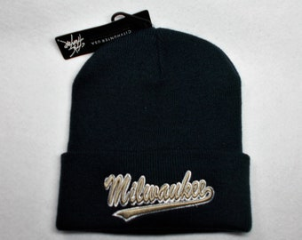 best service 0b2dd 12f06 ... reduced milwaukee brewers team colors on direct 3d embroidered knit  cuffed beanie hat cap. navy