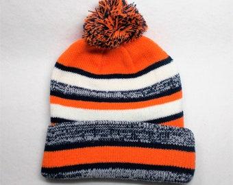 a4fb939f4 Team Color Pom Pom Knit cuffed Beanie Cap Hat! Vivid Team colors Orange Navy Wht!  Adult unisex. Superior quality. Plush