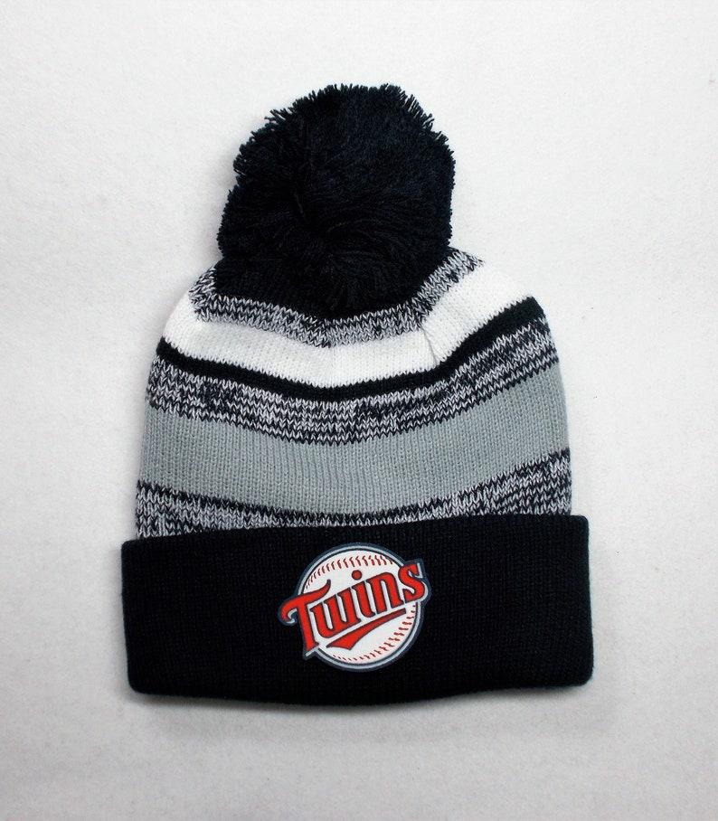 Minnesota Twins Heat Applied Logo Great quality Beanie Navy BlueGreyWhite Unisex on a Knit Cuffed Beanie POM hat cap PlushUltra warm