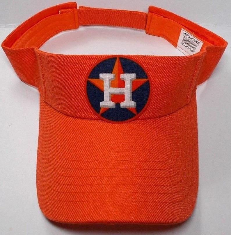 Houston Astros Heat Applied Applique on an Orange team color Visor hat cap Adjustable strap Fits everyone!