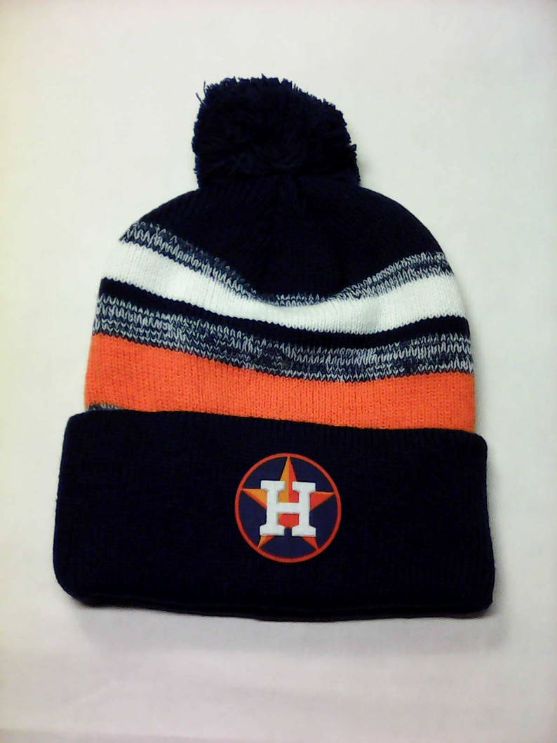 2fb5a1ff723 Houston Astros Heat Applied Logo on a Knit Cuffed Beanie POM