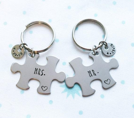 Mr Mrs Custom Date Keychains Anniversary Gift Wedding Etsy