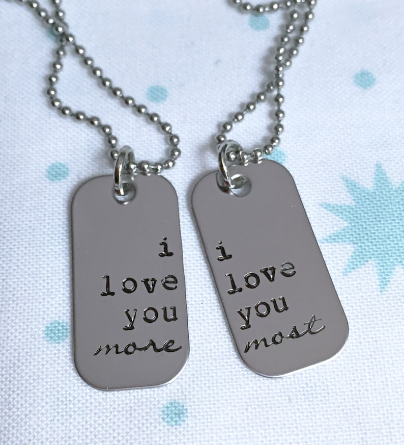 4a777c0ceb42b I love you more I love you most mini dog tag Necklace set