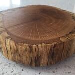Small rustic wood slab turn table lazy susan