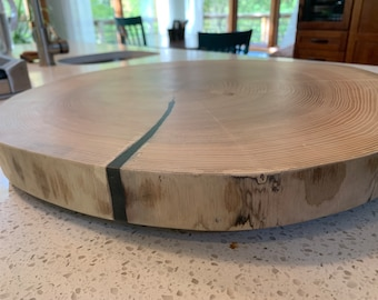 Extra Large light wood rustic lazy susan with resin