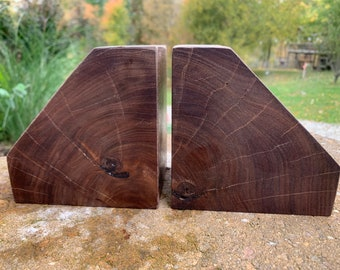 Modern rustic thick wood bookends