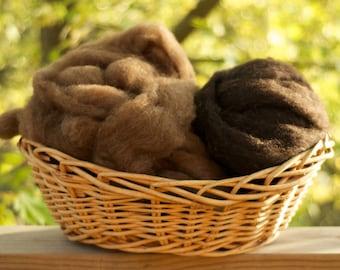 Organic natural undyed roving from Shetland sheep