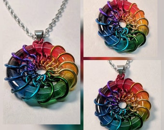 Glass Rainbow Chainmaille Pendant with Chain