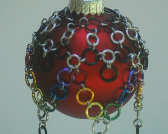 Rainbow Chainmaille Drape with Christmas Ornament Ball