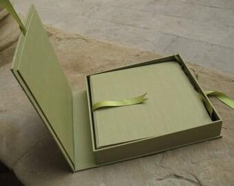 scatola per album fotografico in cartone rigido rivestita in tela
