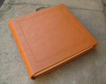Leather photo album wedding embossed made in italy
