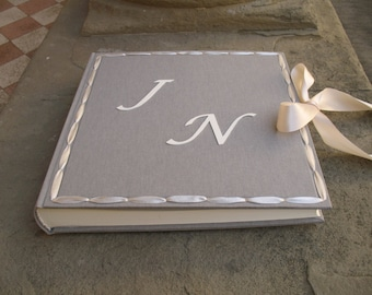 Wedding photo album bespoke with satin ribbon made in italy