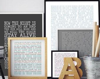 Lyrics wall art | Etsy