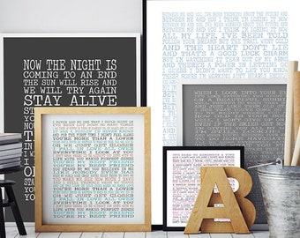 Customised song lyrics print - Lyrics wall art - typographic lyrics poster - music print - gifts for music lover - custom lyrics print