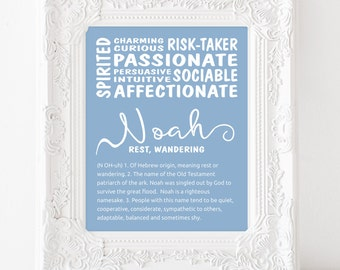 Name definition etsy personalised name meaning print name sign name meaning name definition new baby gift baby shower gift custom name print noah stopboris Images
