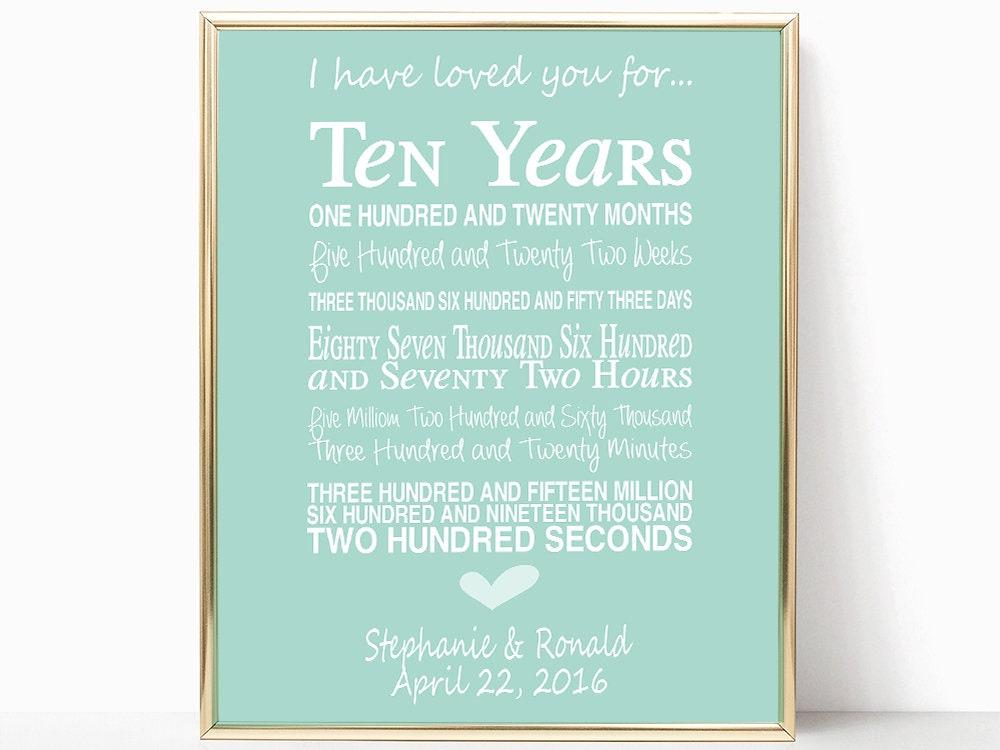 10th Anniversary Wedding Gifts: 10th Wedding Anniversary Gift Personalised Anniversary