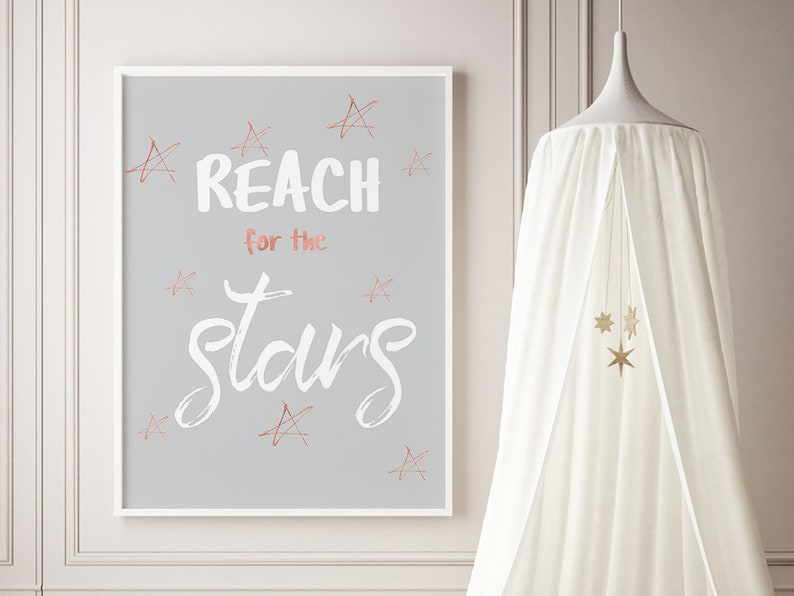 Reach For The Stars Kids Typography Rose Gold Wall Art Nursery Pictures Playroom Decor