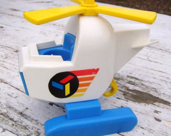 Fisher Price 1978 Blue, White and Yellow Helicopter wit spinning propeller and hook,  color decal, fits little people