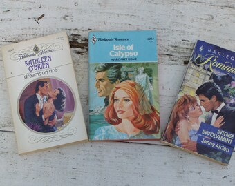 Guilty Pleasure Gift Set  Vintage Harlequin Paperback Novels Three Pack, 1970's and 1980's