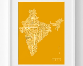 Typographic map etsy more colors india text map in hindi gumiabroncs Images