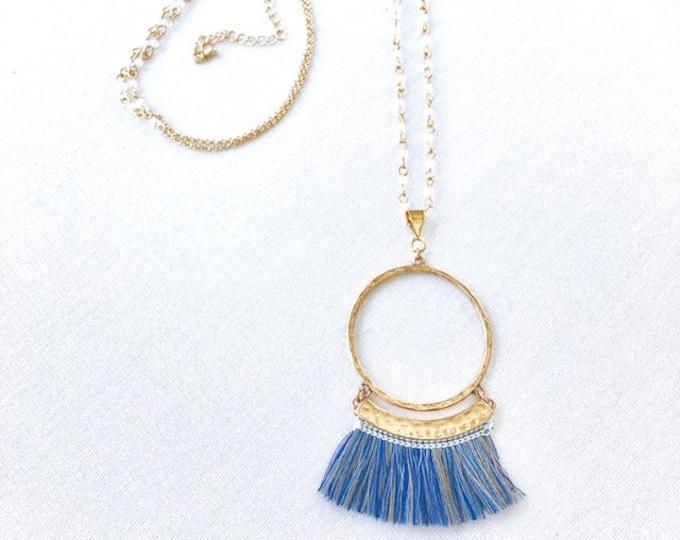 Blue and Gold Long Fringe BoHo Necklace
