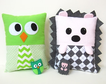 Hedgehog Owl Pillow Sewing Pattern PDF Kawaii Tutorial with matching stuffed felt Baby Tooth Fairy pocket On Sale Cyber Monday