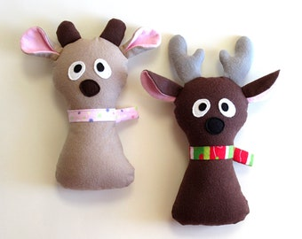 Baby Reindeer Christmas Plush Pattern Doe a Reindeer Stuffed Animal PDF Sewing Tutorial Softie Fabric Toy Gifts for Kids