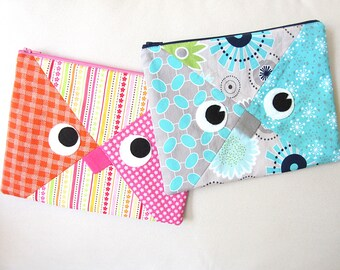 Owl Pouch Sewing Pattern Zipper Bag PDF Tutorial for Easy DIY Travel Cosmetic Bag or Pencil Case Back to School