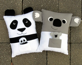 Sewing Pattern Panda & Koala Pillow Pattern PDF Sewing Tutorial with Pocket for Baby Felt Animals or Tooth Fairy Pillow or Toddler Pillow