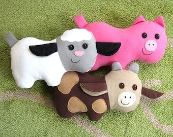 Cow, Pig & Lamb PDF Sewing Pattern Plush Farm Animal Barnyard Toys for Baby, Toddlers, Stuffed Animals Tutorial