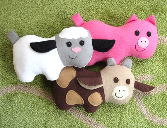 Cow Pig Lamb Pdf Sewing Pattern Plush Farm Animal Barnyard Etsy