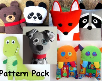 Softie Sewing Pattern Bundle Fabric Toys for Boys PDF Tutorials Dog Fox Raccoon Monster Teddy Bear Panda TRex Dinosaur