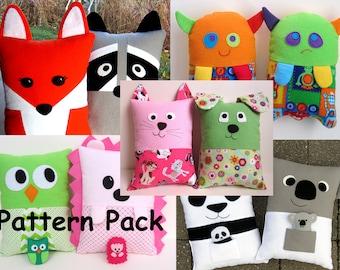 Sew a Pillow Kids Pattern Bundle by My Funny Buddy Stuffed Fox Raccoon Hedgehog Owl Panda Koala Dog Cat Tooth Fairy Pillow
