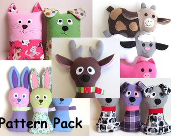Gifts for All Seasons Pattern Bundle by My Funny Buddy PDF Sewing Tutorials for Reindeer, Dog, Cow, Pig, Lamb, Bunny, Tooth Fairy Pillows