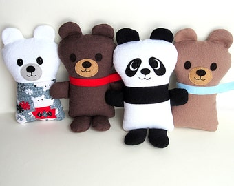 Baby Panda Bear PDF Sewing Pattern Teddy Bear included Digital Download Tutorial Fabric Softie Gift for Babies and Children