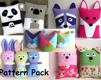 Gifts for Girls DIY Pillow Pattern Bundle PDF Sewing Tutorials Stuffed Fox, Raccoon, Panda, Koala, Owls, Bunny, Dog, Cat by My Funny Buddy