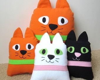 Stuffed Cat Pillow Tutorial Funky Kawaii Cat & Kitten PDF Sewing Pattern Easy Beginner DIY Softie Plush Gifts for Children