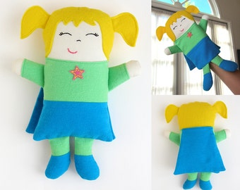 Super Hero Pattern Puppet & Doll Sewing Tutorial Options included Supergirl Felt or Fabric Hair Puppet or Stuffed Dollie by My Funny Buddy