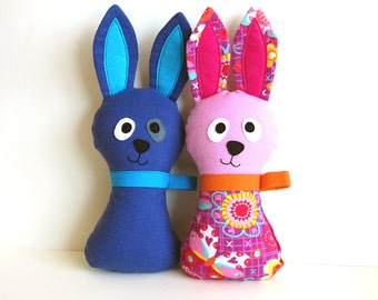 Easter Bunny Sewing Pattern - DIY Stuffed Easter Hoppy Loppy Rabbit PDF Sewing Tutorial for Soft Toy Baby Gift with Lop Eared Option