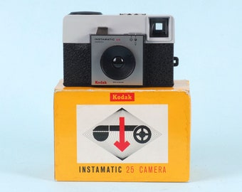 Unused KODAK Instamatic 25 camera in original packaging. Analogue retro camera. Point and shoot antique camera for 126 Kodapak cartridge