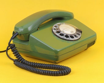 Vintage land line rotary Phone VEF. Latvian telephone in green color. Great for your interior or collection! Home decor. Free shipping